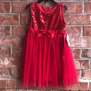 Popatu Size 5 Red Sparkly Tulle Dress